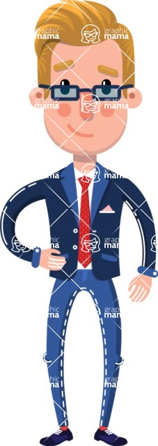 Businessman Cartoon Character in Flat Style - Smiling