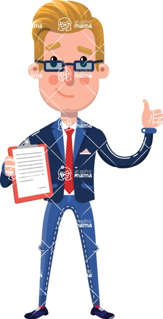 Businessman Cartoon Character in Flat Style - Making thumbs up with notepad