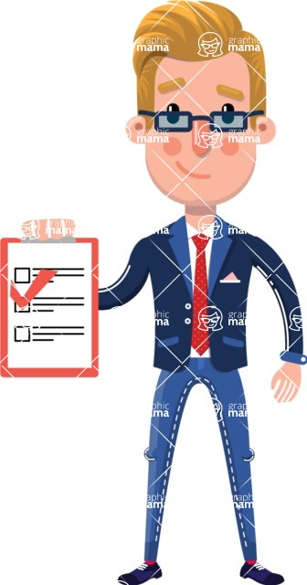 Businessman Cartoon Character in Flat Style - Smiling and holding notepad