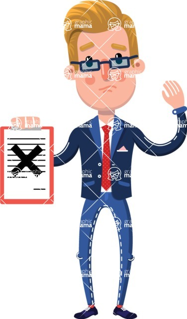 Businessman Cartoon Character in Flat Style - Holding a notepad with an X