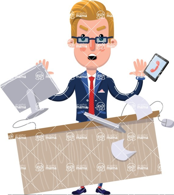 Businessman Cartoon Character in Flat Style - Stressed out