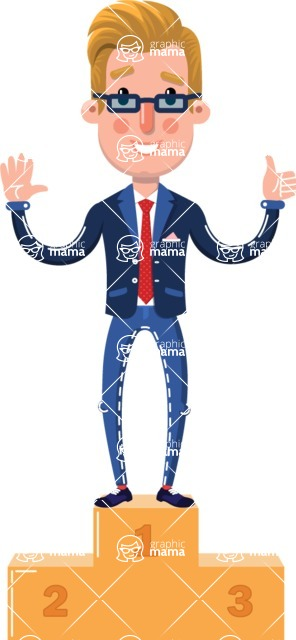 Businessman Cartoon Character in Flat Style - with Success on Top