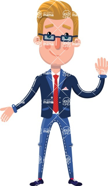 Businessman Cartoon Character in Flat Style - Making Oops gesture
