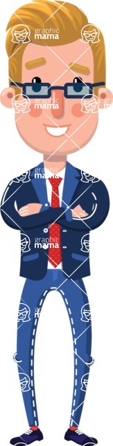 Businessman Cartoon Character in Flat Style - Waiting with hands behind back