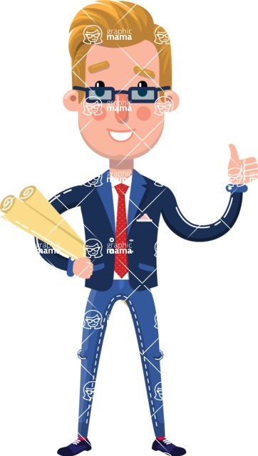 Businessman Cartoon Character in Flat Style - Holding Plans