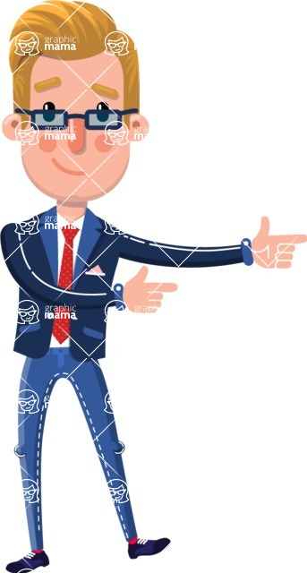 Businessman Cartoon Character in Flat Style - Pointing with both hands