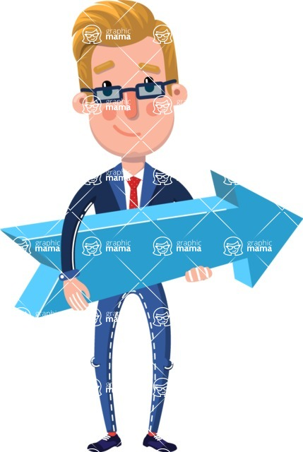 Businessman Cartoon Character in Flat Style - with Positive arrow