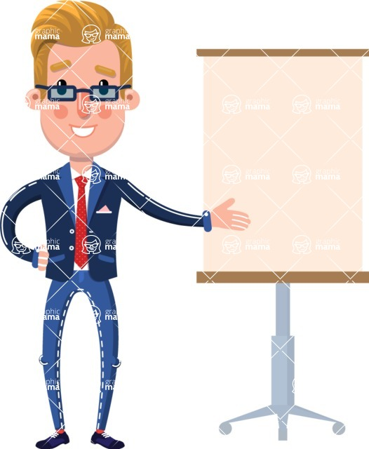 Businessman Cartoon Character in Flat Style - with a Blank Presentation board