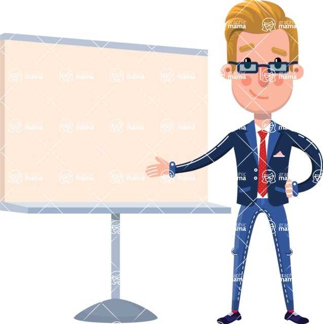 Businessman Cartoon Character in Flat Style - Pointing on a Blank whiteboard