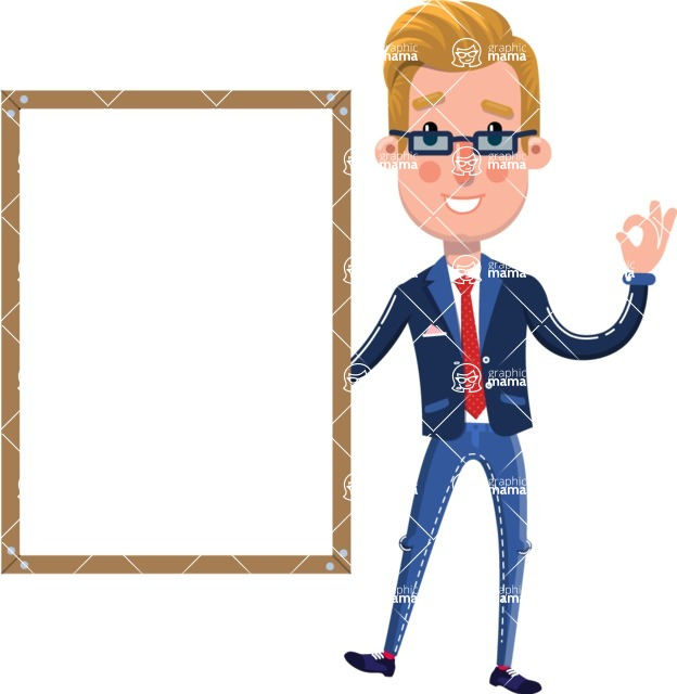 Businessman Cartoon Character in Flat Style - Making OK sign with Big Presentation board