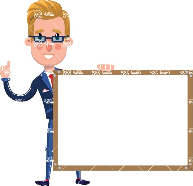 Businessman Cartoon Character in Flat Style - Showing on Big whiteboard