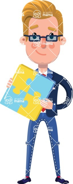Businessman Cartoon Character in Flat Style - with Puzzle