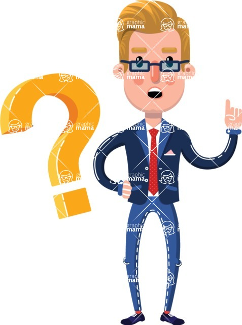 Businessman Cartoon Character in Flat Style - with Question mark