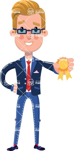 Businessman Cartoon Character in Flat Style - Winning prize