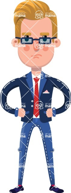 Businessman Cartoon Character in Flat Style - Rolling Eyes