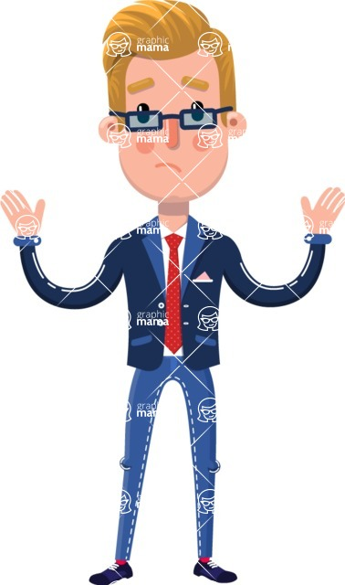 Businessman Cartoon Character in Flat Style - with Sad face