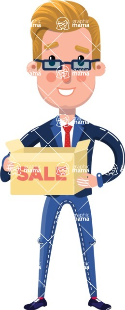 Businessman Cartoon Character in Flat Style - with Sale boxes