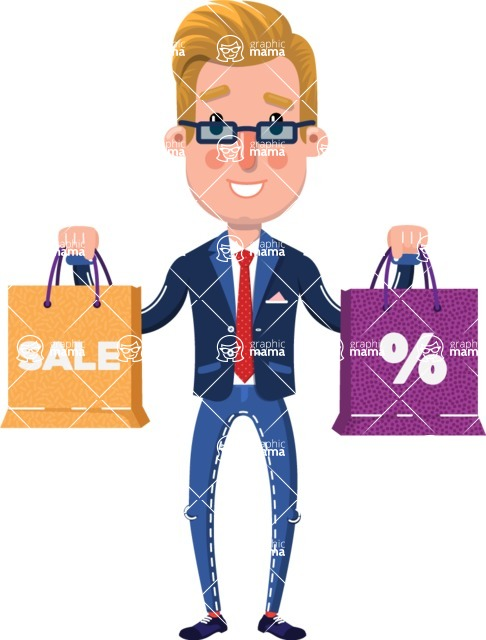 Businessman Cartoon Character in Flat Style - Holding shopping bags
