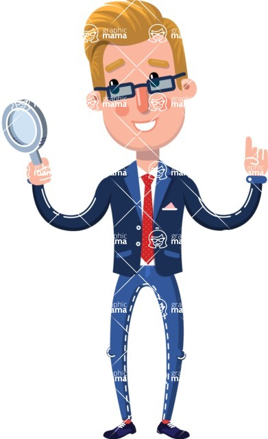 Businessman Cartoon Character in Flat Style - Searching with magnifying glass