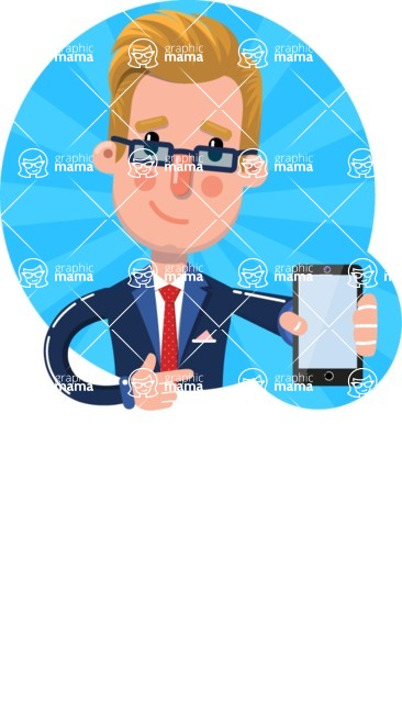 Businessman Cartoon Character in Flat Style - Shape 1