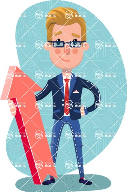 Businessman Cartoon Character in Flat Style - Shape 12