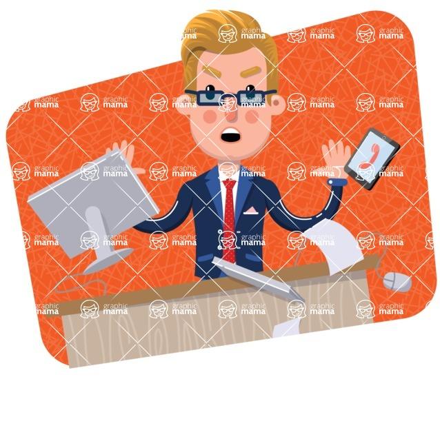 Businessman Cartoon Character in Flat Style - Shape 3