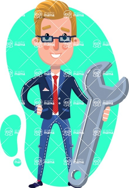 Businessman Cartoon Character in Flat Style - Shape 4
