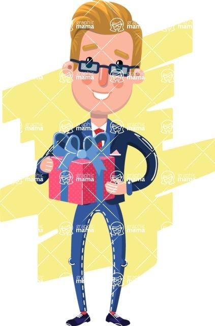 Businessman Cartoon Character in Flat Style - Shape 8