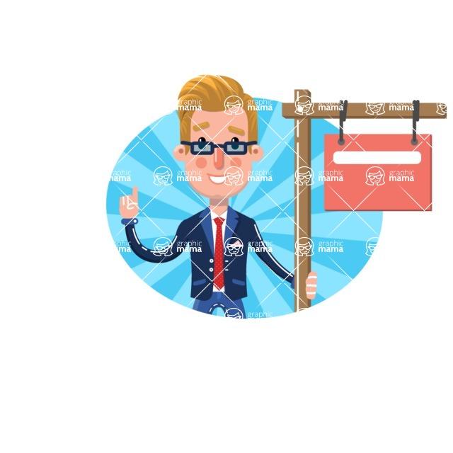 Businessman Cartoon Character in Flat Style - Shape 9