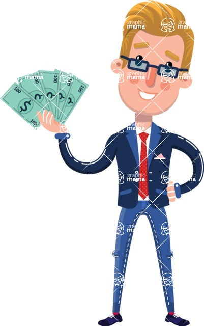 Businessman Cartoon Character in Flat Style - Holding Money