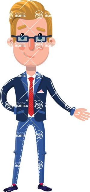 Businessman Cartoon Character in Flat Style - Showing with left hand