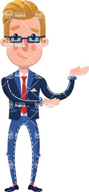 Businessman Cartoon Character in Flat Style - Showing with both hands