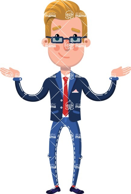 Businessman Cartoon Character in Flat Style - Presenting with both hands