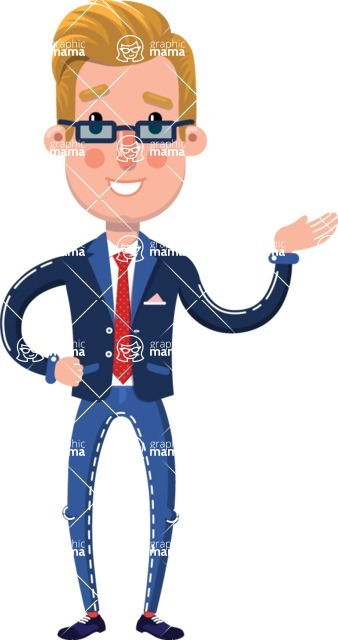 Businessman Cartoon Character in Flat Style - Showing with right hand