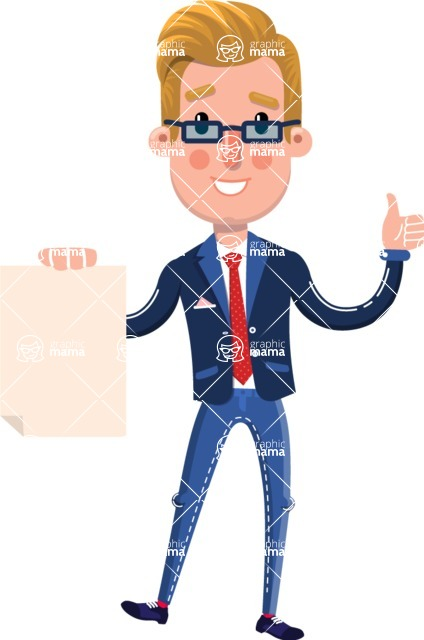 Businessman Cartoon Character in Flat Style - with a Blank paper