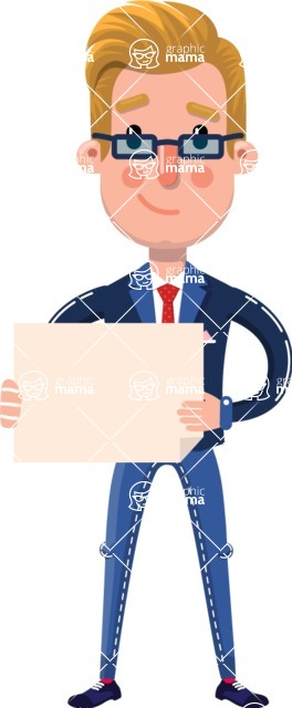 Businessman Cartoon Character in Flat Style - Holding a Blank sign