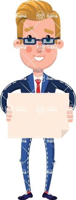Businessman Cartoon Character in Flat Style - Holding a Blank banner