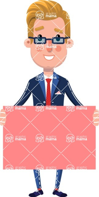 Businessman Cartoon Character in Flat Style - with a Blank Presentation sign