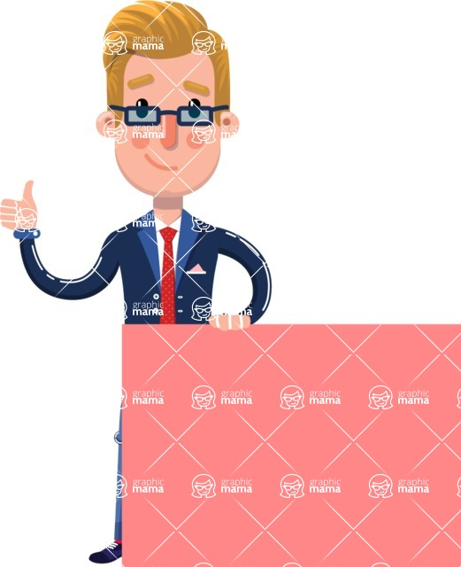 Businessman Cartoon Character in Flat Style - Holding a Blank sign and Pointing