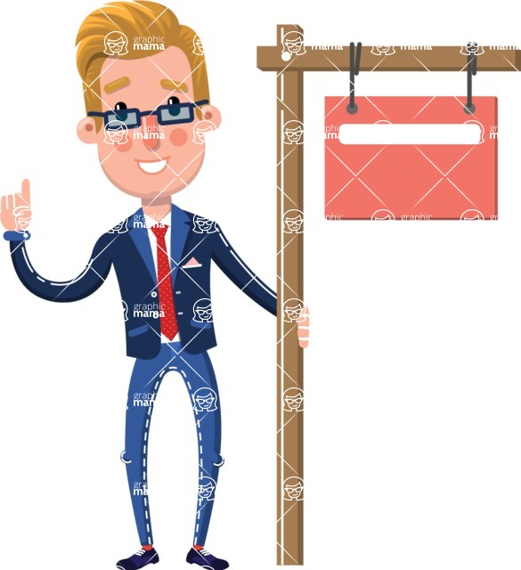 Businessman Cartoon Character in Flat Style - with Blank Real estate sign