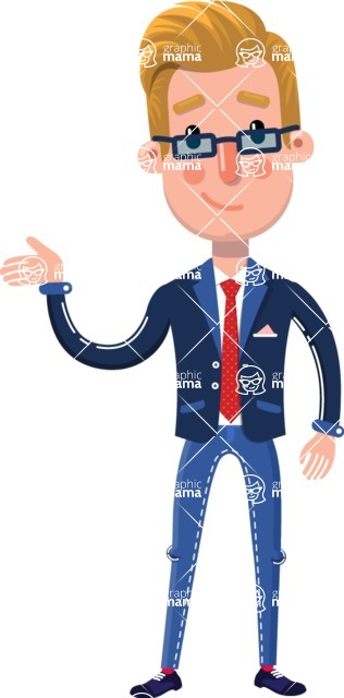Businessman Cartoon Character in Flat Style - Feeling sorry
