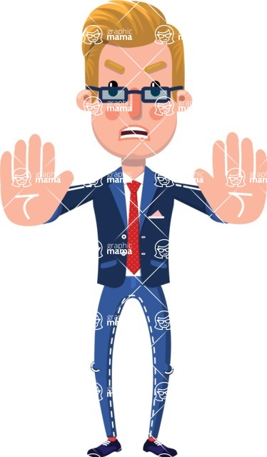 Businessman Cartoon Character in Flat Style - Making stop gesture with both hands