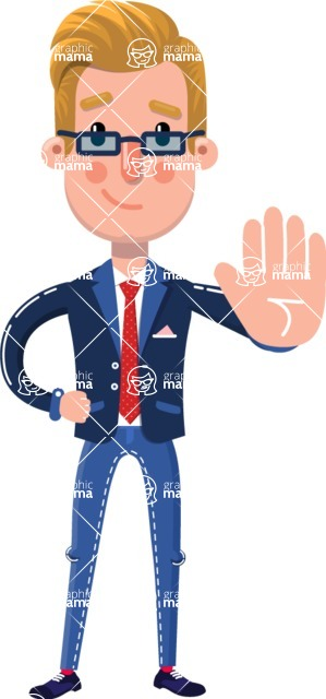 Businessman Cartoon Character in Flat Style - Making stop with a hand