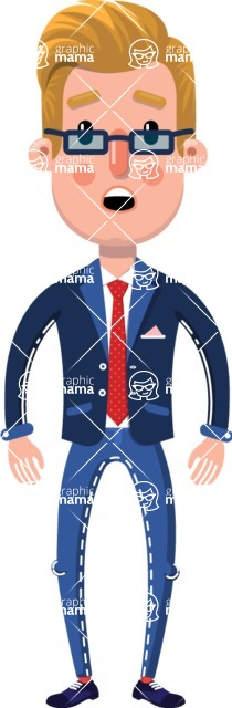 Businessman Cartoon Character in Flat Style - with Stunned face