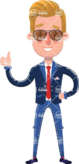 Businessman Cartoon Character in Flat Style - with Sunglasses