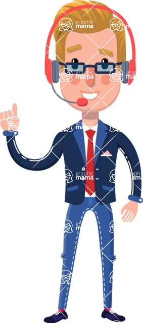 Businessman Cartoon Character in Flat Style - Talking on phone