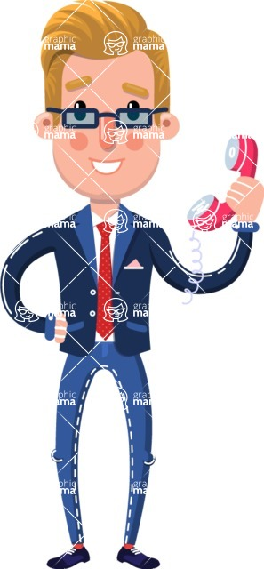 Businessman Cartoon Character in Flat Style - Holding phone