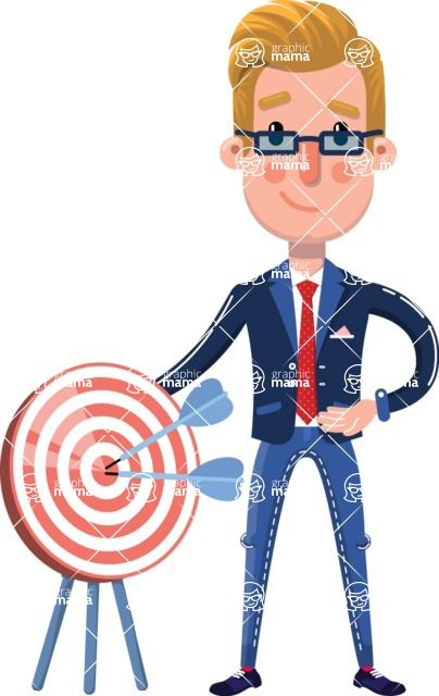 Businessman Cartoon Character in Flat Style - with Target