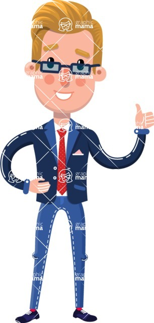 Businessman Cartoon Character in Flat Style - Making Thumbs Up