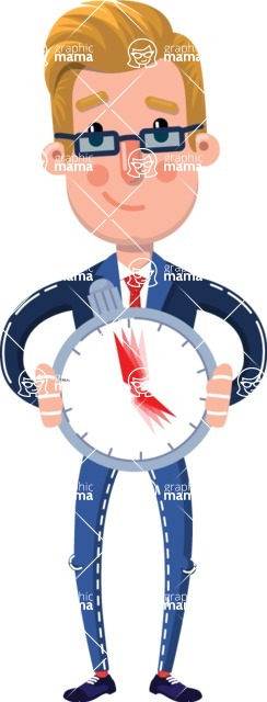 Businessman Cartoon Character in Flat Style - Holding clock